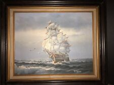 VINTAGE OIL PAINTING OF CLIPPER SHIP SIGNED BY RICHARD BOREN