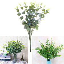Artificial Fake Leaf Eucalyptus Green Plant Leaves Flower Home Decor 16 Heads