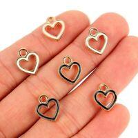 10Pcs Enamel Hollow Heart Charm Pendant DIY Necklace&Earrings&Bracelet Making
