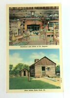 New Salem State Park Illinois Dr Regnier Residence & Office Linen Postcard