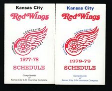 1977-78 & 1978-79 Kansas City Red Wings Pocket Schedules CHL