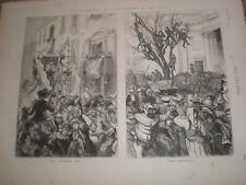 Le Carnaval à Rome Des masques dans le corso Italie 1876 OLD PRINTS RF V