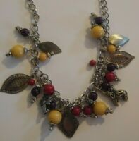 Vintage Statement Charm Necklace Lucite Beads Tribal Elephant Multi Color