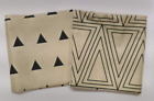 "2 Tan & Black Throw Pillow Cover Case w Zipper 17""x17"" Linen Burlap or Canvas?"
