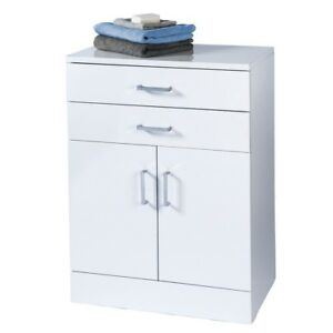 Large Gloss White Bathroom Cabinet Soft Close Double Door Drawer Shelves storage