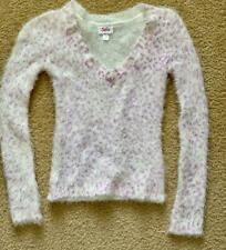 """A*"" JUSTICE Size 8  soft fuzzy sweater white with purple"