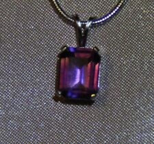 6.72CT  11MM X 9MM PURPLE AMETHYST PENDANT-BEAUTIFUL EMERALD CUT-STERLING SILVER