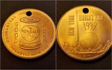 """1939 New York Worlds Fair Kendall Oil """"Good Luck"""" Coin Token (Lot of 5)"""