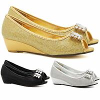 New Womens Diamante Court Shoes Ladies Low Mid Wedge Heel Pumps Party Wedding UK