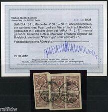 Samoa 50 Pfg. Adler Vorläufer 1891 6 x a. Briefstück Befund (S6588)