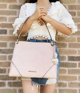 Michael Kors Nicole Medium Shoulder Tote Hobo Powder Blush Pink Suede Leather