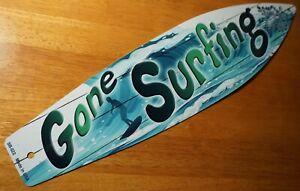 RETRO VINTAGE STYLE GONE SURFING SIGN Tiki Bar Beach Surfboard Home Decor NEW