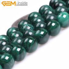 "Green Malachite Natural Gemstone Round Loose Beads For Jewellery Making 15"" UK"