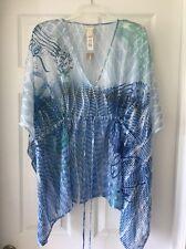 Chicos Womens Passport Swirl Poncho Blouse Top L / XL Blue $89 Empire waist tie
