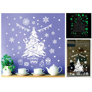 Merry Christmas TREE Removable Wall Window Stickers Decals X MAS Home Shop Decor