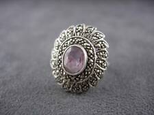 Sterling Silver Amethyst Ring Marcasites Vintage Signed Size 7