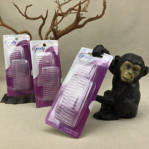 3 packages Goody Hailey Side Combs Clear Fashion Kant Slip Style