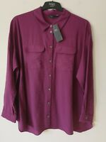 LADIES M&S SIZE 20 PINK MAGENTA SOFT CRINKLE BLOUSE TOP FREE POST