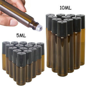 20X 5/10ml Amber Roll on Glass Bottles Set Essential Oil Metal Roller Ball Empty