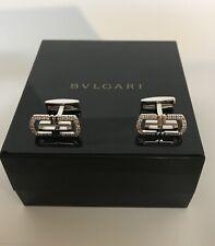 BVLGARI  Parentesi White Gold 18K Cufflinks With Diamond Round Setting 0.44 ct