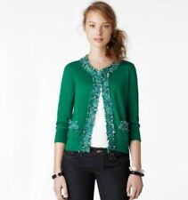 RARE $298 Kate Spade New York Sidekick Forest Green Tweed Trim Cardigan S