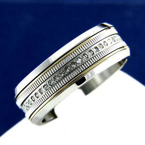 Men's Stainless Steel Engagement Simulated Diamond Wedding Anniversary Band Ring