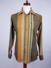 Vtg 90s Brown Striped Corduroy Indie Brass Snap Cord Shirt britpop -M- EY09