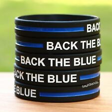 100 Back The Blue Wristbands Silicone Awareness Bracelets w/ Thin Blue Line