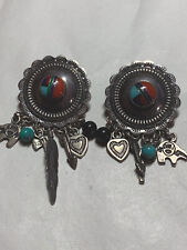 VINTAGE Southwest Sterling Silver EARRINGS Un-Marked INLAY Turquoise 17 Grams
