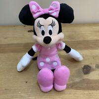 """Disney Junior Minnie Mouse Plush Stuffed Animal 10"""" Tall Pink Polka Dot Dress"""