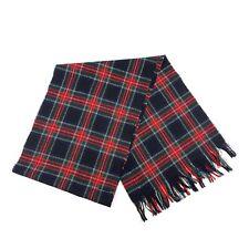 """Vtg PENDLETON 100% Wool Red Green Tartan Plaid Scarf Fringe 10"""" X 60"""" USA"""