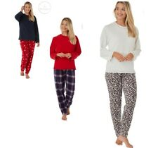 Womens Ladies Long Pyjama Set Warm Winter Micro Fleece PJ Christmas Gift