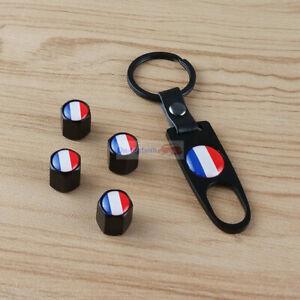 FR France Flag Metal Wrench Wheel Air Tyre Tire Valve Stems Caps Peugeot Renault
