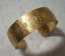 "Adjustable Raised Flower Pattern Cuff Bracelet Solid Brass Made in USA 6-1/4"" L"