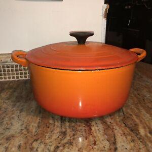 "Le Creuset Flame Orange Dutch Oven ""E"" Cast Iron 4.5 Qt. VERY NICE"