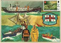 3 x ISLE of MAN 1974 150th ANNIVERSARY RNLI LIFE-BOATS POSTCARDS with STAMPS