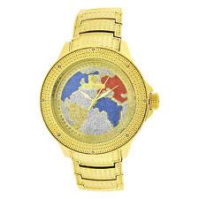 Men's Ice Mania IM3508MI Real Diamond Yellow Stainess World Map Watch 0.08 CT