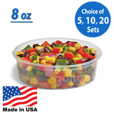 8oz Round Clear Plastic Deli Food/Soup Restaurant Storage Container Cup w/ Lids