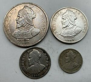 PANAMA  SILVER 50 CENTESIMOS 1904, 25 C 1904, 10 C 1904, 2 1/2 C 1929