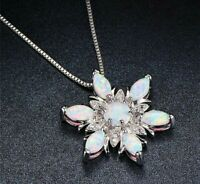 Stunning Opal 925 Sterling Silver S925 Snowflake Necklace Pendant Chain - UK