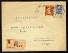 █ Lettre Recommandée avec y&t n°235 + 294 PARIS R.P. AFFRANCHISSEMENTS H 1934 █