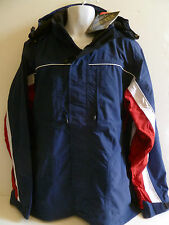 NEW Men's Chiemsee GORE-TEX Navy Blue Jacket RED WHITE Removable Hood
