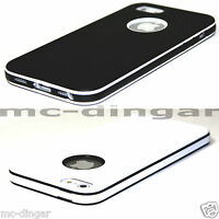 Black/White PC Bumper Hybrid Soft TPU Rubber Matte Case Cover For iPhone 5 5S SE