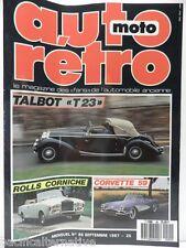 Revue AUTO RETRO moto magazine n° 85  - septembre 1987 collection talbot T23