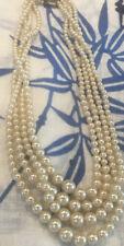 Vintage Art Deco Pearl Necklace Marcasite Clasp 4 Strand