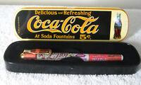 Vintage 1995 Coca-Cola Pen in Tin Case Ballpoint Black Ink Soda Advertising