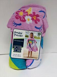 Kids Unicorn Hooded Poncho Bath Beach Pool Towel Children Soft Bath Robe