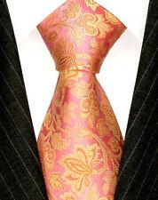 Cravate rose pour homme en 100% soie