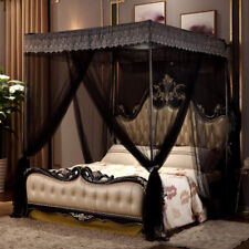 Flowers Black 4 Corner Post Bed Canopy Mosquito Netting Full Queen King Size