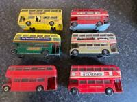 6x VINTAGE DINKY TOYS & CORGI TOYS DOUBLE DECKER BUSES (DOORS BROKEN YELLOW BUS)
